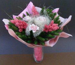 muharos szárazvirág csokor - rózsaszín