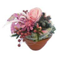 Szárazvirág asztaldísz, rózsaszín rózsával