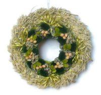 Zabos szárazvirág koszorú (zöld)