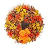 Szárazvirág koszorú narancssárga cirokkal