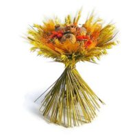 Zabbal és búzával körbe kötött szárazvirág csokor - sárga