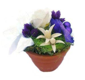 Szárazvirág asztaldísz fehér rózsával