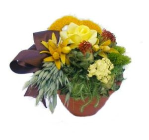 Szárazvirág asztaldísz sárga rózsával