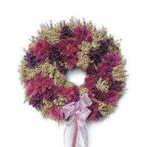 Lila varázs szárazvirág koszorú
