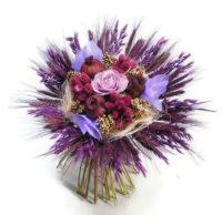 Zabbal és búzával körbe kötött szárazvirág csokor - lila