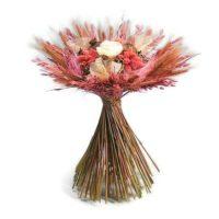 Zabbal és búzával körbe kötött szárazvirág csokor - rózsaszín