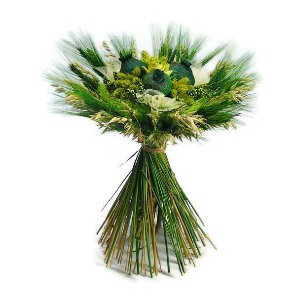 Zabbal és búzával körbe kötött szárazvirág csokor - zöld