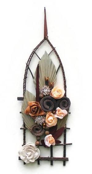 pálmaleveles-rózsás falidísz